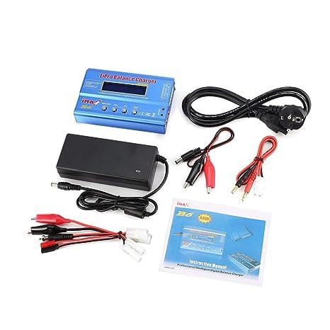 Tellaboull For iMAX B6 80W 6A Lipo NiMh Li-Ion RC Balanza Cargador 10W 2A descargador con 15V / 6A Adaptador AC/DC para RC Modelo de batería