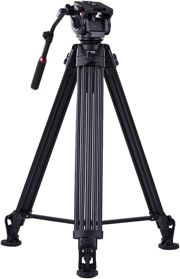 TPOTOO Kingjoy VT-3500 197cm//6.5ft Camera Camcorder Tripod with VT-3530 Fluid Damping Head//Non-slip Horseshoe-shape Foot//Stable Middle Support Aluminum Alloy Max.20kg//44Lbs Load for Sony A7 A7II A7RII