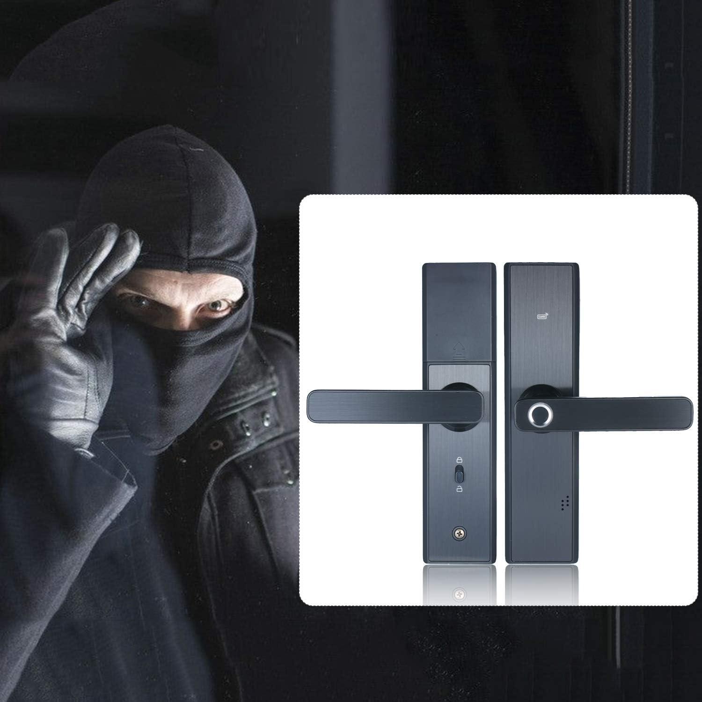 Lasamot Household safety Door Lock Burglarproof Door Lock Fingerprint Lock Password Lock Support Unlocked by Swiping Card and Remote Control Intelligent Electronic Door Lock with Double Bolt Mortises