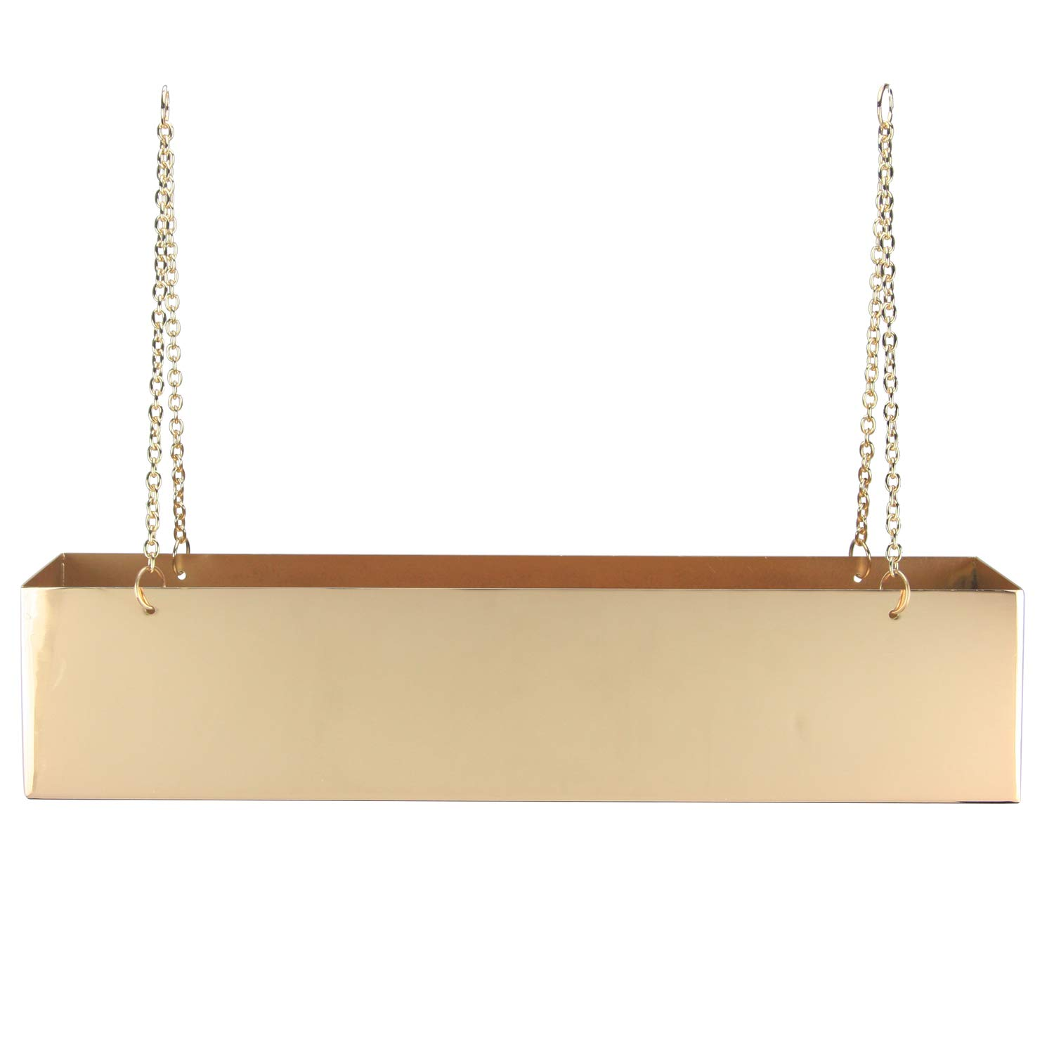 Large Metallic Rectangle Hanging Planter with Metal Chains for Flowers, Cactus and Succulents Indoor or Outdoor