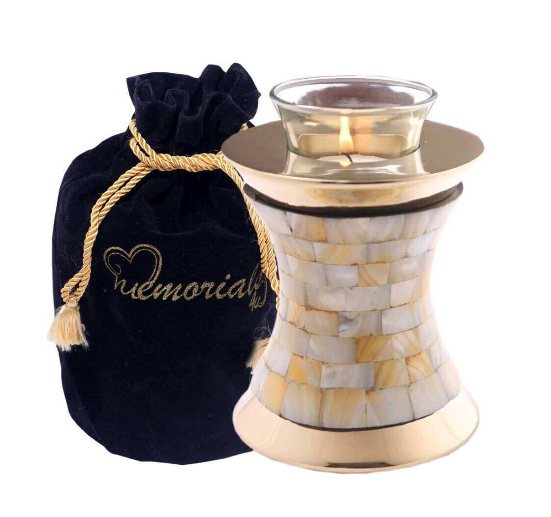 Mother of Pearl Tealight Urn - Keepsake Urn for Ashes - Small Size Candle Urn- NOT Intended for Full Cremation Ash Quantity