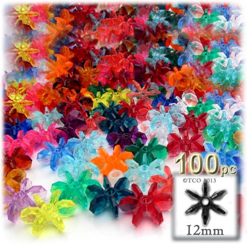 - The Crafts Outlet 1000-Piece Round Faceted Plastic Transparent Starflake Beads, 12mm, Multi Mix