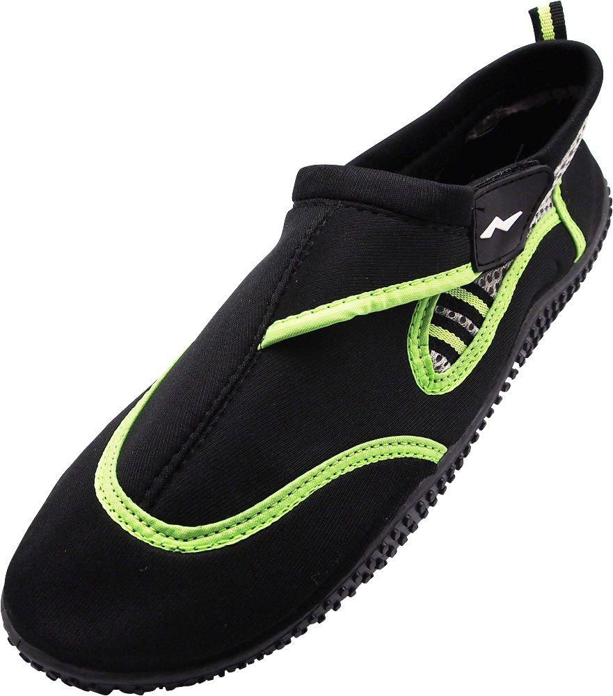 NORTY - Young Mens Skeletoe Aqua Water Shoes for Pool Beach, Surf, Snorkeling, Exercise Slip on Sock, Black, Lime 40312-9B(M) US