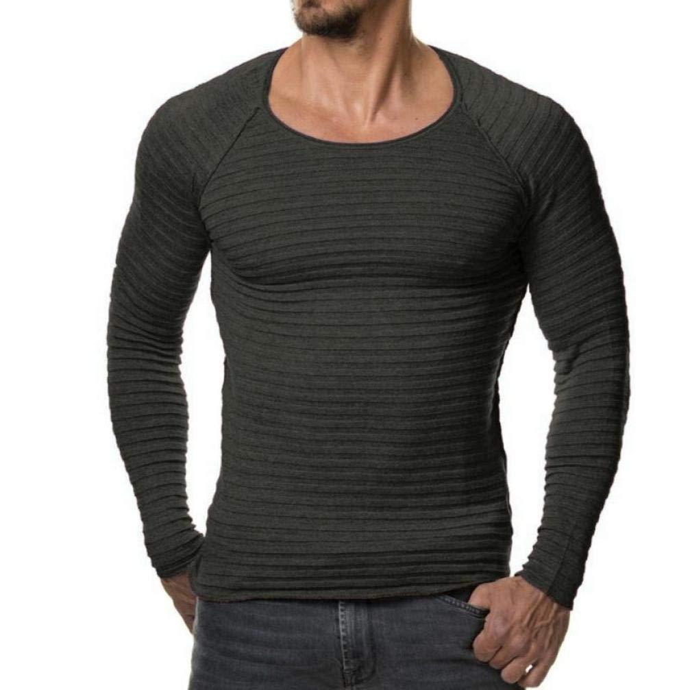 Binggong Herren Shirt,Herbst und Winter der Männer warme Volltonfarbe Rundhals Retro-Mode lässig Schlank Langarm-Shirt Pullover