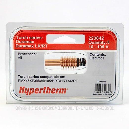 Fits Hypertherm® US Ship 5 x 220842 UR Plasma Torch Electrodes ONLY T-11883