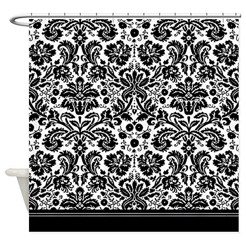 "CafePress Black and White Damask Decorative Fabric Shower Curtain (69""x70"")"