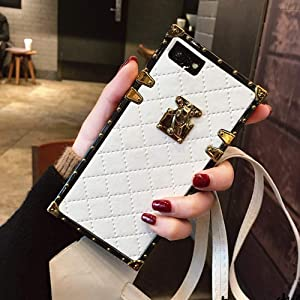 """Compatible for iPhone Xs Max 6.5"""" Case,BabeMall Elegant Diamond Luxury Corner Square PU Leather Classic Slim Anti-Scratch Case + Lanyard (Small Cube/White)"""