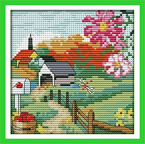 CaptainCrafts Hots Cross Stitch Kits Patterns Embroidery Kit - The Suburban Four Seasons (Autumn) (WHITE)