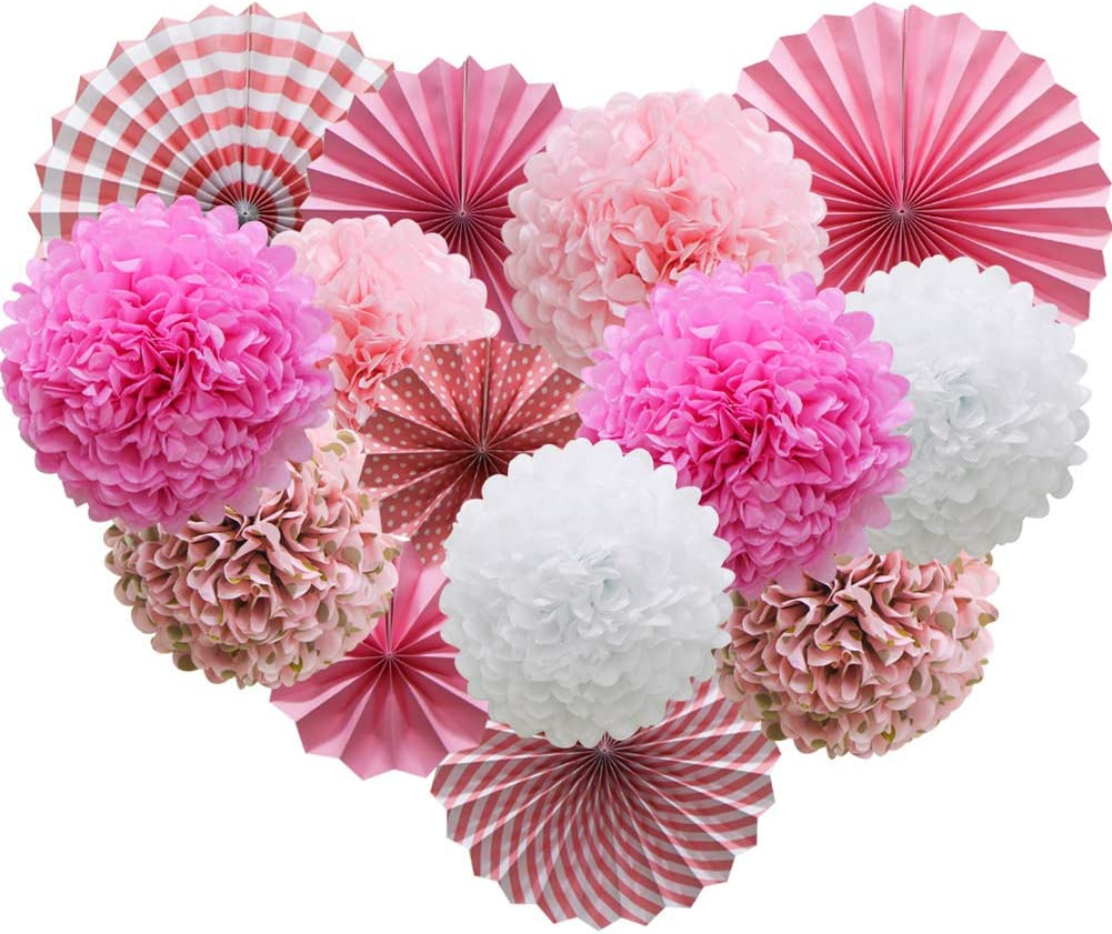 Pink Hanging Paper Party Decorations, Round Paper Fans Set Paper Pom Poms Flowers for Valentine's Day Birthday Wedding Baby Shower Events Accessories