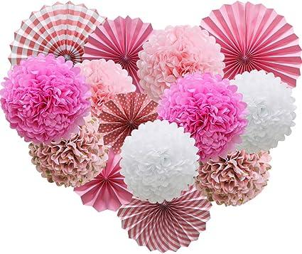 Bride To Be Bridal Shower Flower Pom Poms Birthday 3 Pink Tissue Paper Pom Poms Wedding Decorations