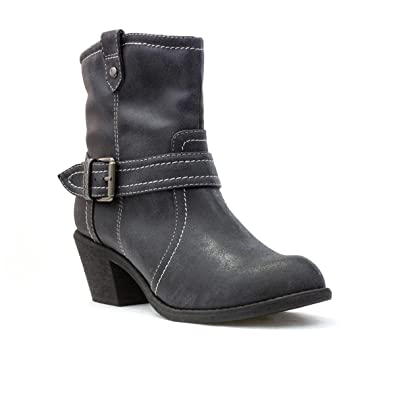 Womens Grey Cowboy Style Ankle Boot