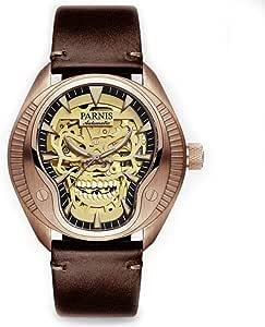 Hombres Cráneo luminoso reloj automático 40mm PARNIS vidrio de zafiro Cool reloj de pulsera