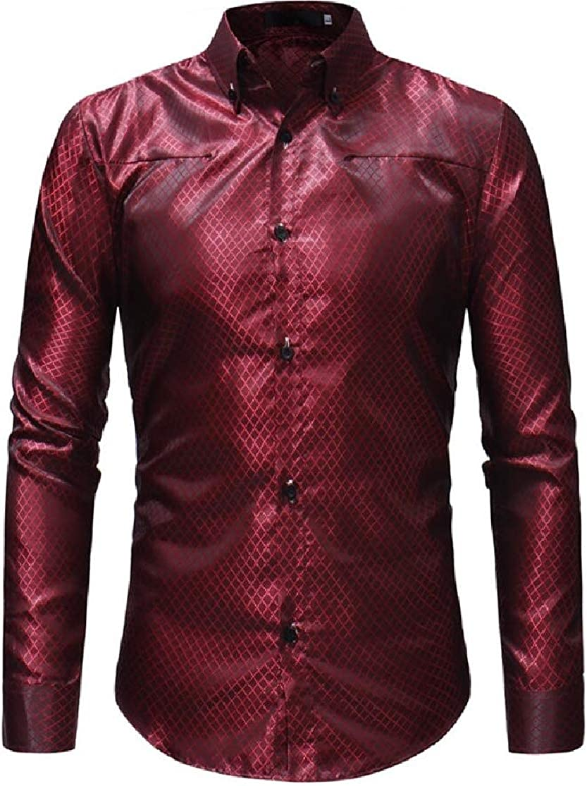 Domple Mens Long Sleeve Plaid Classic Club Buttons Dress Shirts
