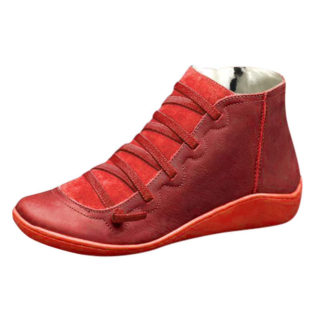 TIFENNY Hot New Lightweight High Top Shoes for Women Flat Leather Retro Lace-Up Boots Side Zipper Plus Velvet Shoe Boots by TIFENNY_Shoes