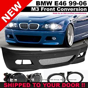 BMW E46 99-05 M3 Style Front Bumper Fluted Fog Lights Clear Lamp Covers Black