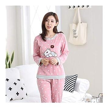 038d6904d5 HAOLIEQUAN Pijamas De Invierno Mujeres Algodón Pijamas De Dibujos Animados  para Niñas Conjuntos De 2 Piezas