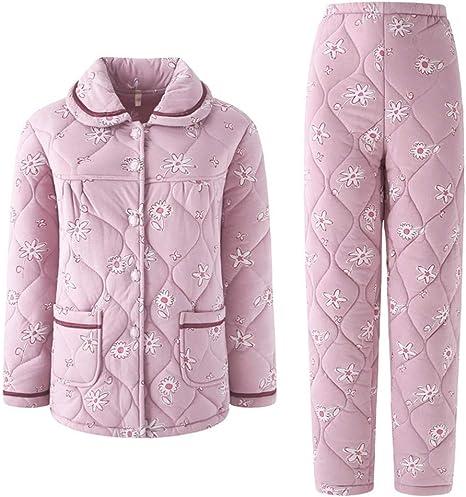 RGHOP Tres Capas de Engrosamiento Pijamas Acolchadas Mujer Otoño Invierno Tejer algodón Pijamas Moda Casual Tamaño Grande Hogar, A, L: Amazon.es: Deportes y aire libre
