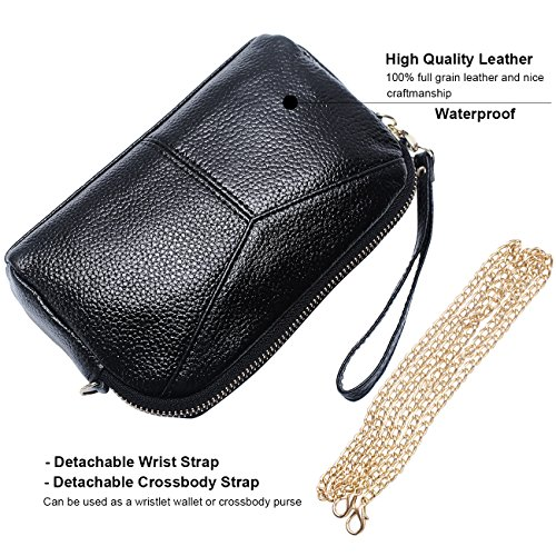 Wristlet Soft Black Purse with Strap Bag Chain Smartphone Wallet Women's Strap Clutch Leather Crossbody Metal amp;Wrist tpwnTgx5qC