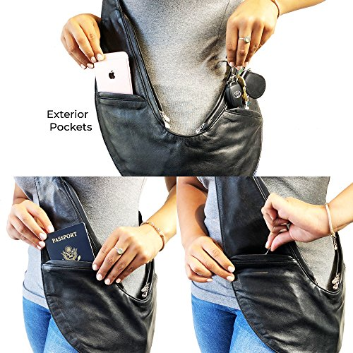 for SASH Pocketed Crossbody Bag with Yellow Leather Travel RFID Multi Genuine Zippered Lightweight Purse Organizer Luxe Women YnqwrYS1