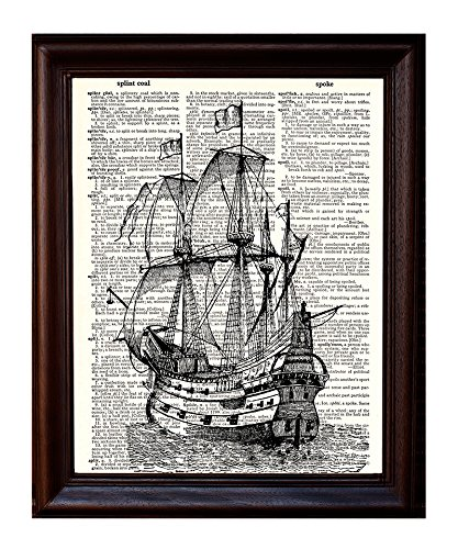 Dictionary Art Print - Pirate Ship - Printed on Recycled Vintage Dictionary Paper - 8.5