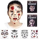 Halloween Temporary Scar Blood tattoos 4 Sheet Face Tattoos Kit :Skeleton Day of the Dead Temporary 2 Sheet Halloween Prom Spider, Blood, Scar, Bat Costume Tattoos 2 Sheet for Men or Women