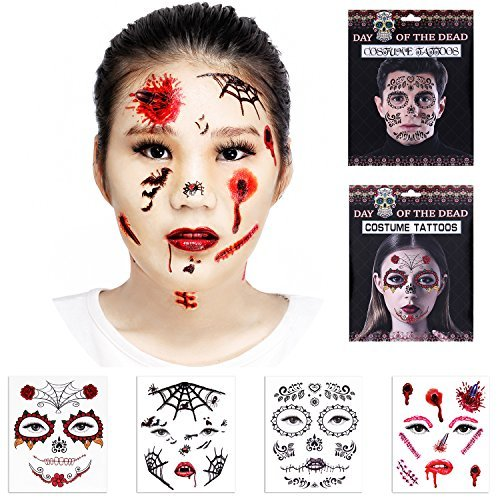 Halloween Temporary Scar Blood tattoos 4 Sheet Face Tattoos Kit :Skeleton Day of the Dead Temporary 2 Sheet Halloween Prom Spider, Blood, Scar, Bat Costume Tattoos 2 Sheet for Men (Mens Halloween Makeup Skeleton)