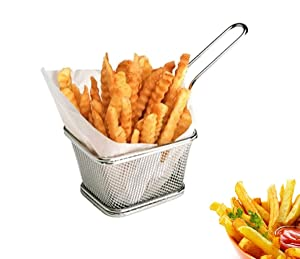 Stainless Steel Mini Square Fry Basket French Fries Holder, Fried Food Table Serving (Small 4inch)