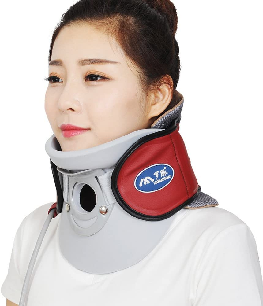 Wgwioo Medical Neck Cervical Traction Device Relief From Neck And Upper Back Pain Portable Home Use,Red
