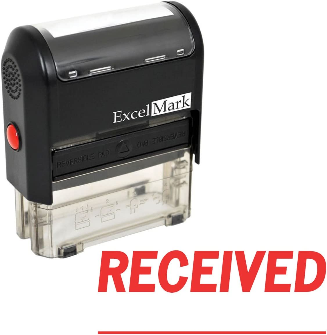 ExcelMark A-1539 Self-Inking Rubber Stamp - Received with Signature Line - Red