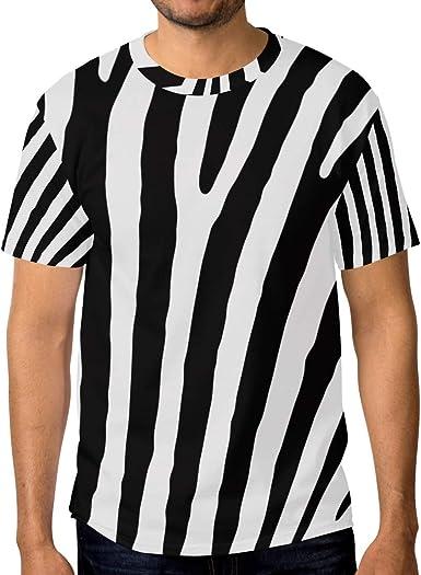 MALPLENA - Camiseta de Manga Corta para Hombre, diseño de Rayas de Cebra: Amazon.es: Ropa y accesorios