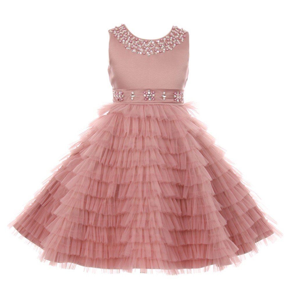 1c552e7276e Amazon.com  Little Girls Dusty Rose Sequined Multi Layer Ruffle Flower Girl  Dress 2  Clothing