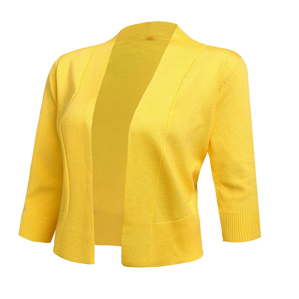 cabbb92b7c AAMILIFE Womens 3  4 Sleeve Cropped Cardigans Sweaters Jackets Open Front  Short Shrugs for