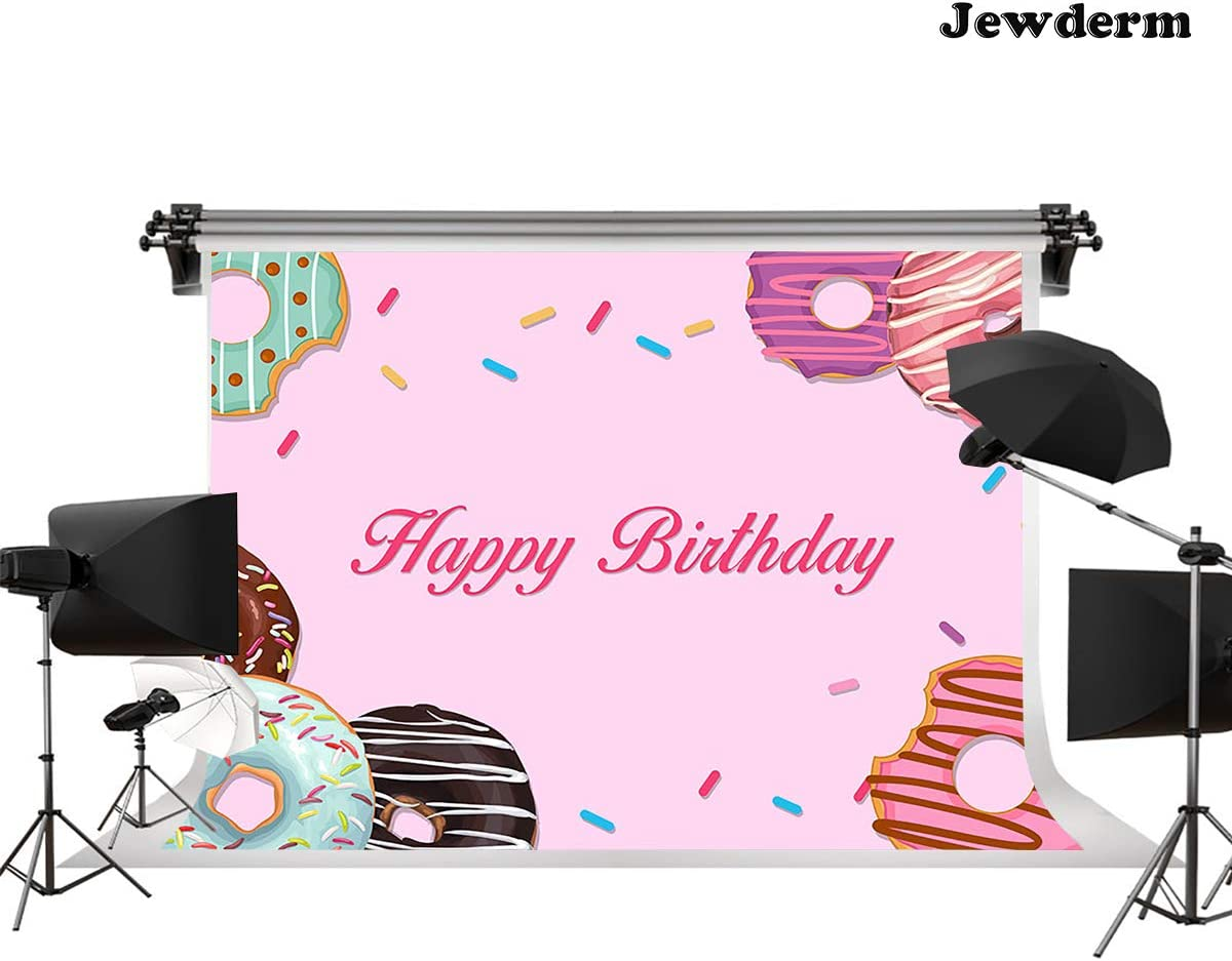 Jewderm 9x6ft Photography Backdrop Happy Birthday Photo Background Pink Donuts for Kids Party Wall Decoration Photographic Studio Props