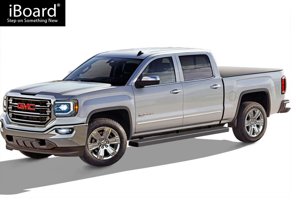 APS IBCZ4928 Black 5 Running Board Side Step iBoard Third Generation, for Selected Chevy Silverado//GMC Sierra Crew Cab, Aluminum