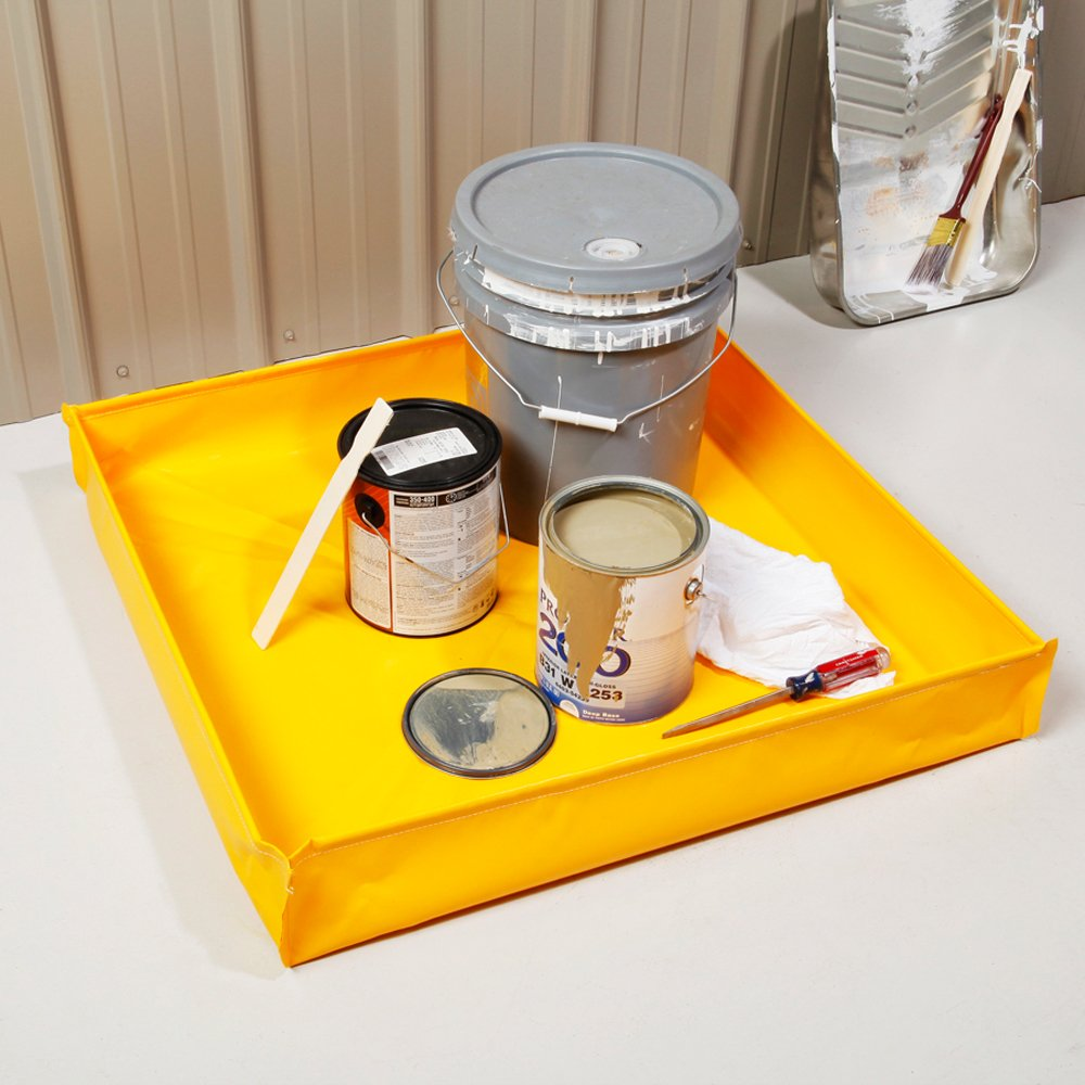New Pig PAK292 PVC Collapsible Utility Tray 54.8 Gallon Sump Capacity 48 Length x 48 Width x 5-1//2 Height Yellow