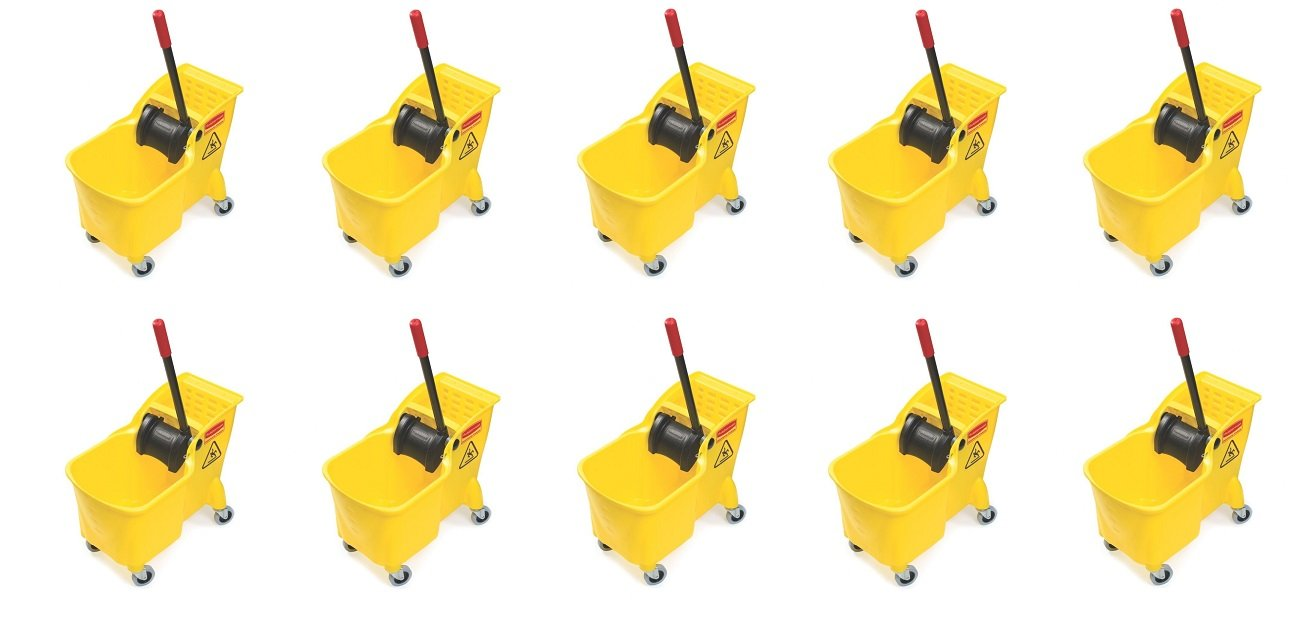 Rubbermaid Commercial Tandem Bucket and Wringer Combo, 31-Quart Capacity, 22.63-Inch Length x 13.25-Inch Width x 32.25-Inch Height, Yellow (FG738000YEL) (10 PACK)