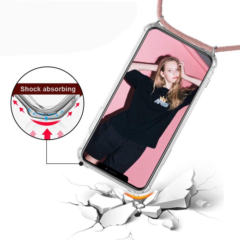 Funda para Xiaomi Redmi Note 8 Pro Suave TPU Case con Cuerda para Colgar Ajustable Anti Golpes Protector Case Amarillo negro Transparente Silicona Carcasa con Cuerda para Redmi Note 8 Pro