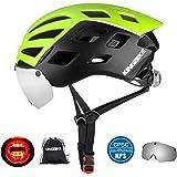 KINGBIKE DOT Casco de bicicleta con anteojos desmontables (100% protección UV400, puede encima de las anteojos) para…