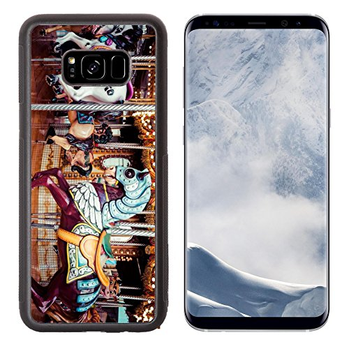 Luxlady Samsung Galaxy S8 Plus S8+ Aluminum Backplate Bumper Snap Case IMAGE ID: 34470928 Old French carousel in a holiday park Three horses and airplane on a traditional fairground vi (Traditional Carousel)