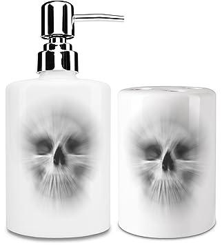 Zoom calavera dispensador de jabón líquido y vaso para cepillo de dientes set| añadir un