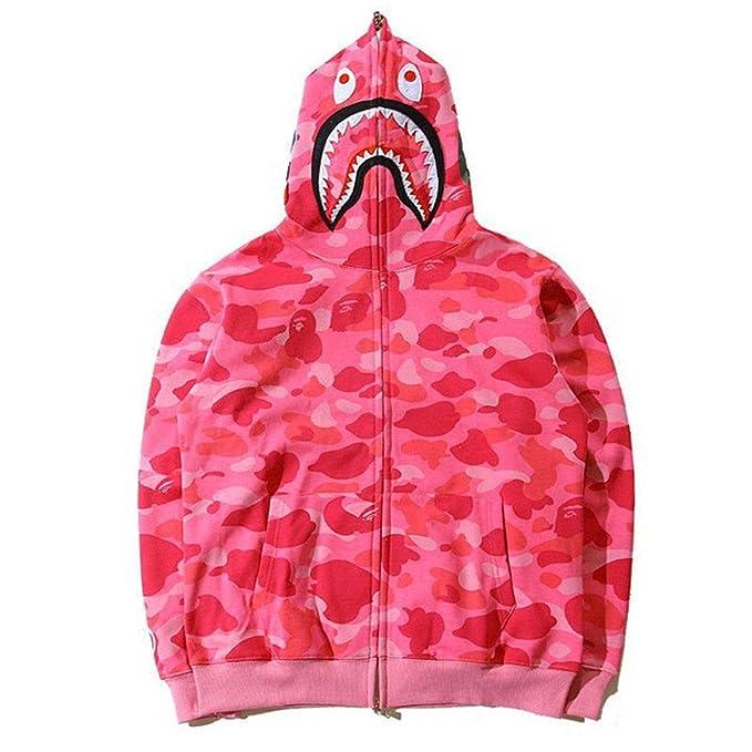 a51c41cf Popular A Bathing Ape BAPE Shark Head Coat Full Zipper Camouflage Jacket  Hoodie (Pink,