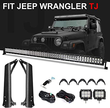 Racbox 50'' 288W Off road LED Light Bar + 2 X 4'' 18W LED Pods Light on jeep wrangler tj double din stereo, jeep wrangler tj battery cables, geo tracker wiring harness, jeep wrangler tj front end parts, jeep wrangler tj torque specs, jeep wrangler tj exhaust leak, 2007 jeep wrangler wiring harness, jeep wrangler tj heater core, jeep wrangler tj radio bezel, jeep wrangler tj rocker switch, jeep wrangler tj clutch master cylinder, jeep wrangler tj fuel line, 1988 jeep wrangler wiring harness, jeep wrangler tj air intake, 2006 jeep wrangler wiring harness, jeep wrangler tj gauges, jeep wrangler tj dash removal, jeep wrangler tj intake manifold, jeep wrangler tj vacuum line, jeep wrangler tj spark plug wires,