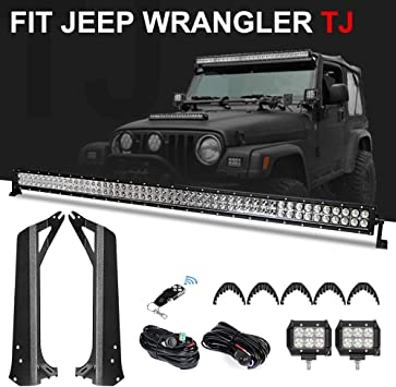 """50/""""INCH 288W Led Light bar Combo Mounting Brackets For Jeep Wrangler TJ 4/"""" 18W"""