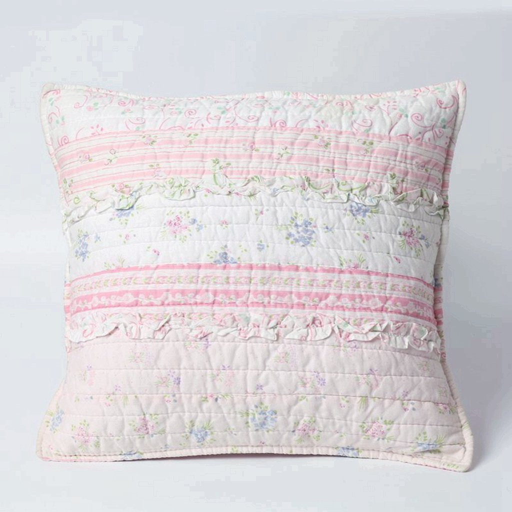 Cozy Line Home Fashions Throw Pillow 16'' x 16'', Pink Lace Striped Print Pattern Stuffed Decorative Pillow, 100% COTTON, Gifts for Kids, Girls (Decor Pillow -1pc)