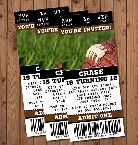 Feet Invitations (Football Birthday Party Ticket Invitations)
