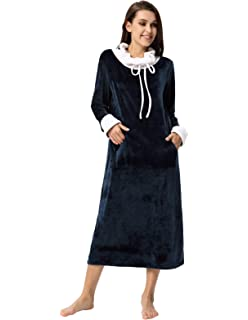 Zexxxy Women Nightgown Soft Flannel Pajama with Pockets Full Length Sleep  Dress a4d07d32c
