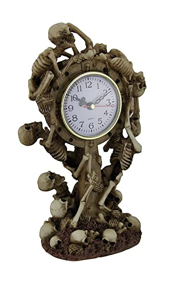 Zeckos Resin Table Clocks Time To Rise Climbing Skeletons Decorative  Tabletop Clock 6 X 11 X