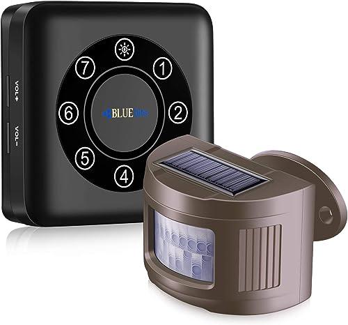 BLUEbits Pairable Driveway Alarm 2000FT Solar Wireless Driveway Alarm Weatherproof Indoor Outdoor Long Range Wireless Motion Driveway Sensor Detector Security Alert System