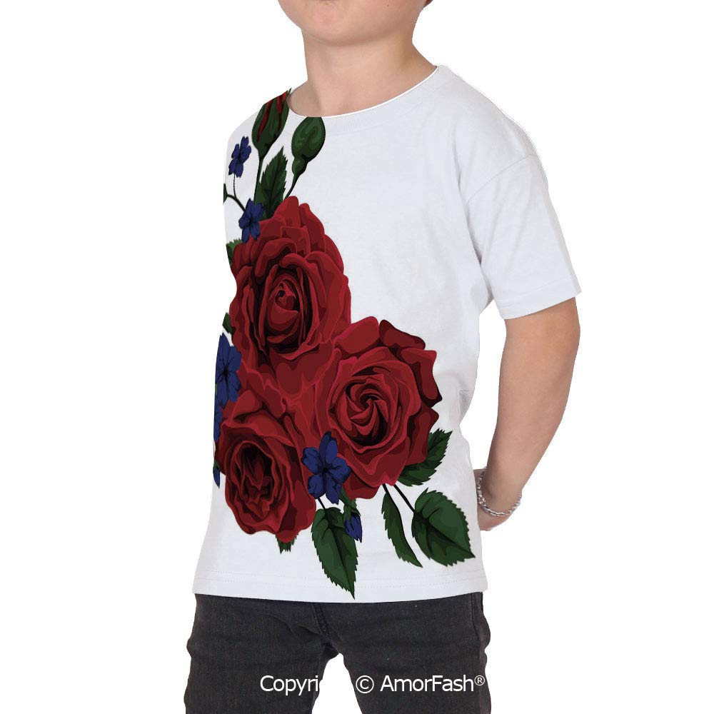 PUTIEN Rose All Over Print T-Shirt,95/% Polyester,Childrens Short Sleeve T-ShirtBloomin