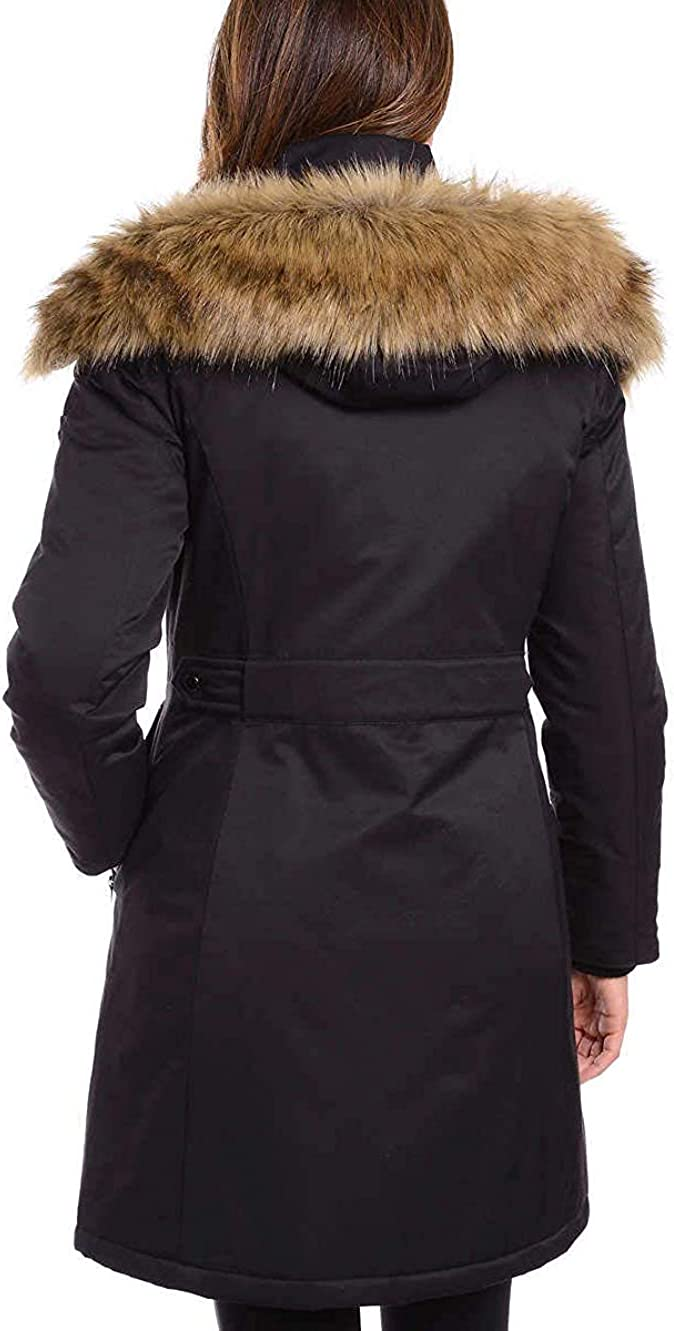1 Madison Ladies Water Resistant Long Parka with Faux Fur Hood